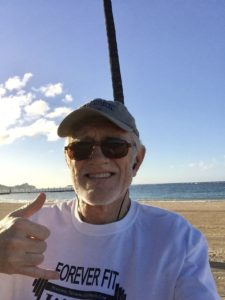 Jogging in Hawaii on the beach